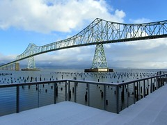 View from My Office This Morning . . . just a little snow (Robert_Brown [bracketed]) Tags: county bridge winter red brown snow building robert oregon canon river is columbia powershot astoria megler clatsop 2011 5photosaday sx210