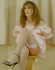 pink satin dress (louiseglow) Tags: me tgirl transgender sissy transvestite crossdresser travesti travestido travestie