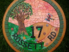 Work in progress. Stained glass mosaic house number. (number 17) (fiona parkes) Tags: dragonfly mosaic stainedglass 17 housename number17 stainedglassmosaic mosaichousenumber