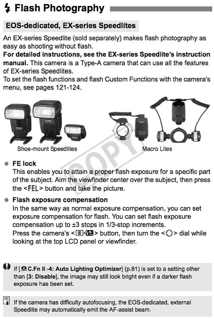 Camera settings and how to use Canon EX-Series flash units, described in the Canon 1D Mark IV Manual