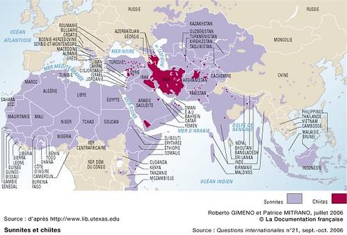 Carte des sunnites et des chiites dans le monde