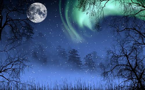 フリー写真素材, グラフィックス, フォトアート, 月, オーロラ, 雪, 樹木,