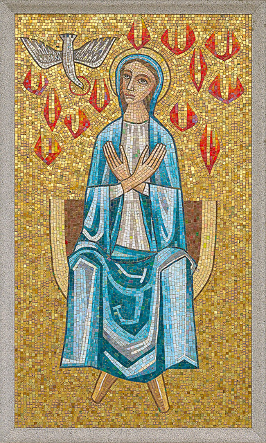 Resurrection Cemetery, in Affton, Missouri, USA - mosaic of the Blessed Virgin Mary at Pentecost