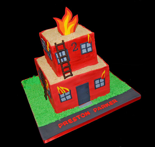 fireman themed birthday celebration building fire