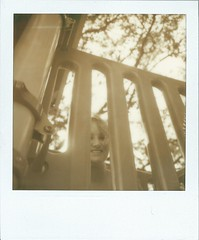 Peeka Boo (Through The Cellar Door) Tags: portrait film polaroid sx70 rachel tip instant nd4 impossibleproject px600uv