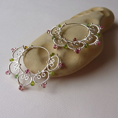 Pink Lotus Tribal Hoops (pippijewelry) Tags: flower silver lotus blossom aquamarine jewelry tribal jewellery bellydance pippi sterling earrings om hoops tourmaline wirewrapped briolette finesilver pippijewelry