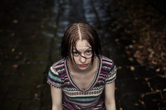 The Cold, The Dark, and The Silence. (Brendan_Timmons) Tags: portrait cute wet water girl leaves rain dark pretty stripes patterns cobblestones alleyway 50mmf14 canon5dmkii
