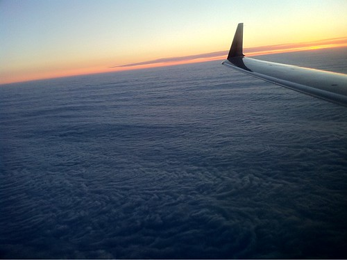 Flying Delta over the clouds and Memphis, Tennessee