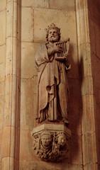 Beverley, Yorkshire, minster, choir, statue (groenling) Tags: beverley yorkshire yorks england britain uk minster choir stone carving statue david king harp mmiia corbel bishop miter