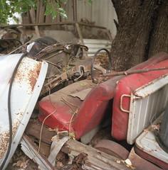 Bench seat. (frontdrive34) Tags: 6x6 tlr wagon break estate kodak sydney australia safari rusted nsw newsouthwales bexley wreck yashica yashicamat124g selfdeveloped id19 c41 iso160 ektacolor160 tetenal darrendavis lhs2 frontdrive34