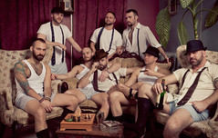 AK's Speakeasy - Serious (davco9200) Tags: gay man guy vintage masculine muscle fedora wifebeater speakeasy