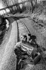 Railroad Tracks and an Organ - Norman 2085 (JLPhotoArt - Jeremy Lindstrom) Tags: ca musician music canada vintage keyboard bc surrealism traintracks surreal oldman retro newwestminster unplugged railroadtracks lowreyorgan
