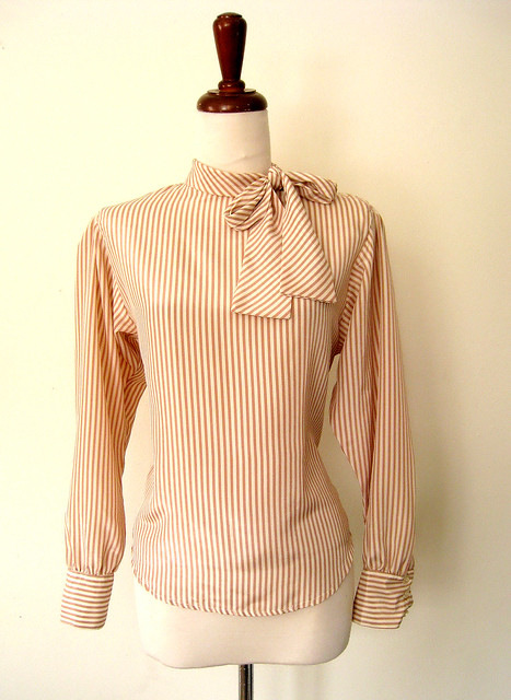 Caramel Stripe Necktie Bow Blouse, Vintage 80's
