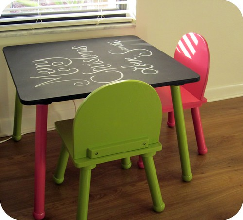 Table and Chairs Redo - Chalkboard Paint