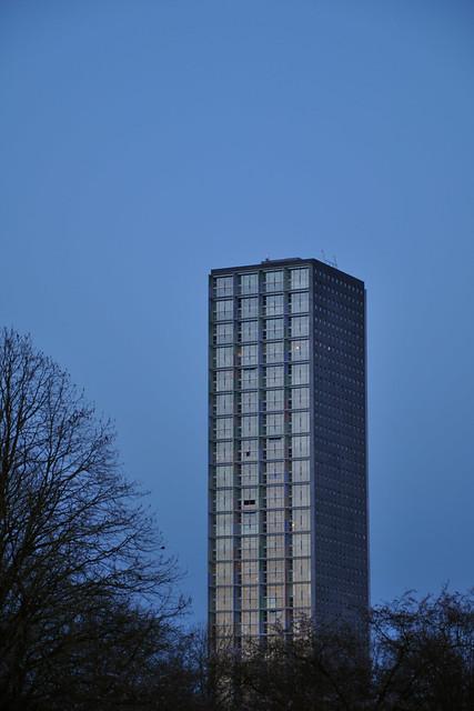 flats at dusk