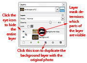 A Layer Mask is added to the duplicated layer in the Layers dialog.