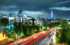 The Lights of Japan (Stuck in Customs) Tags: world city travel trees urban blur building japan architecture modern speed skyscraper photography tokyo evening blog high october asia downtown cityscape traffic dynamic stuck district nightclub photograph metropolis roppongi  nightlife sprawl prefecture minatoku range 2009 metropolitan hdr trey minato cyberpunk travelblog customs zelkova  daimyo   tky ratcliff tkyto hdrtutorial stuckincustoms treyratcliff photographyblog sixtrees stuckincustomscom nikond3x specialward nijsanku  tokubetsuku