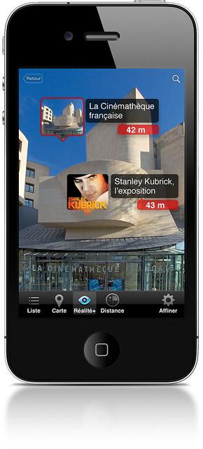 """Application iPhone CultureClic 1.4.2 (gratuite) / """"Stanley Kubrick, l'exposition"""" à la Cinémathèque française / AugmentedReality (iPhone4)"""