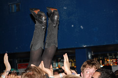 I'm Pretty Sure This Isn't How You Crowd Surf... (Piera Peruvian) Tags: show upsidedown boots crowd mosh livemusic falling crowdsurfing theecho moshing blackboots echoplex gonewrong thestrangeboys naturalchild girlcrowdsurfing