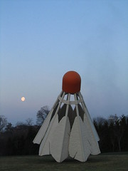 March 21, 2011 (the brilliant magpie) Tags: morning moon reflection water pool museum dawn super full setting nelsonatkins shuttlecock