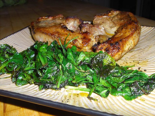 Lamb chops with wilted spinach