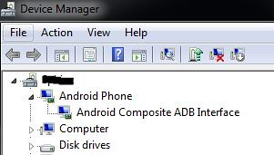 Successful installation of USB drivers for Android phone