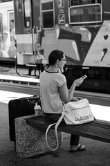(Tom Plevnik) Tags: bnw blackandwhite candid city flickr human ljubljana monochrome nikon outdoor public people places photography street streetphotography trainstation train urban