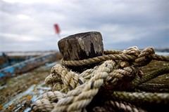 Rope (Sarah Marston) Tags: milton miltonsealocks portsmouth boat marker rope clouds sony alpha a65 september 2016 lichen weathered