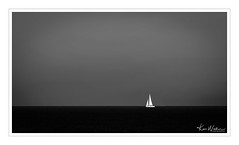 Serenity (Ken Walker Photography) Tags: blackandwhite calm serene sailing water sky seascape alone coastal boat calmness