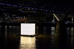 2016-09-04: Korean Refugee Cube (psyxjaw) Tags: london londonist fire londonsburning model greatfire greatfireoflondon art installation river thames crowd korea northkorea refugee cube lightup millennium bridge