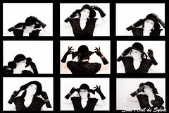 Quand Sylvie se prend 9 fois pour une autre :-) (Sous l'Oeil de Sylvie) Tags: portrait blackandwhite selfportrait me face collage self sylvie women autoportrait noiretblanc pentax femme moi bijou montage chapeau visage acter jouer k7 comédie gants dramatique 9photos 9images intervallomètre comédiene sousloeildesylvie