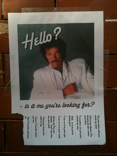 Epic epic epic Lionel Richie flyer / street art in London. Pulltabs are lyrics!