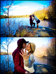 Day 143 of 354 Days of Love! (NEW|photography (Formerly: Nikki Loux Photography)) Tags: trees sky love water clouds ma outside engagement spring pond couple massachusetts newengland ring diamond 365 mass proposal engaged propose brockton proposed 365project dwfieldspark