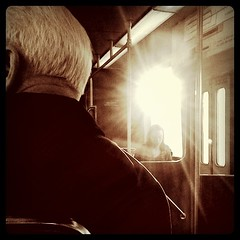 Sunshine in (stephieseye) Tags: sun boston train t candid perspective flare greenline iphone iphoneography