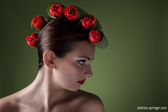 Is that Sushi?! (Andreas Springer) Tags: light red portrait woman flower rot girl beauty face photoshop hair studio licht model nikon gesicht skin pflanze sb600 makeup portrt grn blume blte vignette speedlight strapless softbox bltenbltter strobe wassertropfen cls tulpen haare kopf haut whiteseamless hairlight bildbearbeitung retusche organisch creativelightingsystem strobist seitenlicht farbkontrast schulterfrei sb900 haarlicht