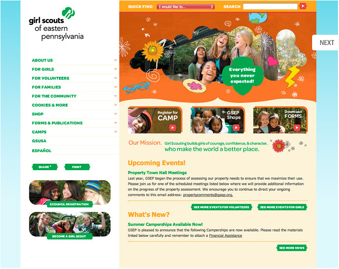Girl Scouts of Eastern Pennsylvania Website with Maestro [01]