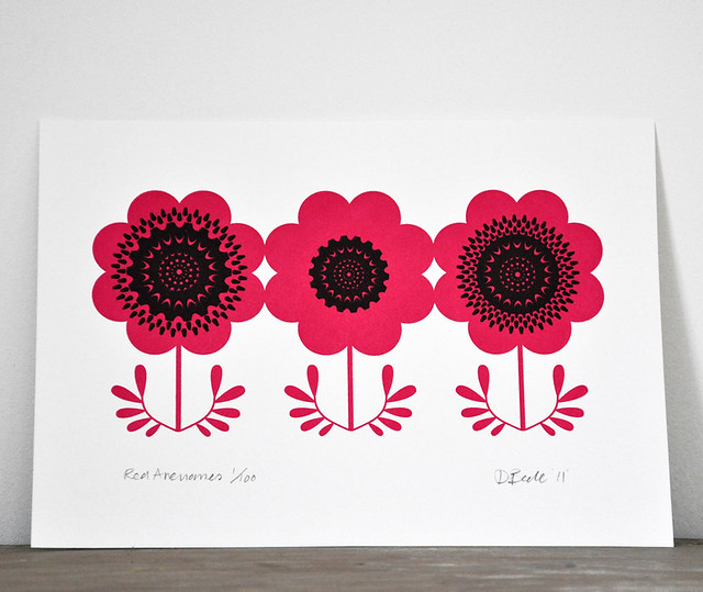 Red Anemone Gocco Print 3