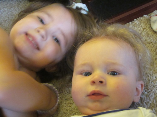 Girl and baby brother