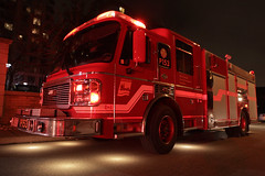 Mississauga Fire Spare Pumper 153 (HANGAR ENT.) Tags: city red rescue ontario canada car night cat truck fire lights drive town bedroom fighter dr 911 rig spare squad emergency 50 mississauga department command siren pumper 153 strathaven