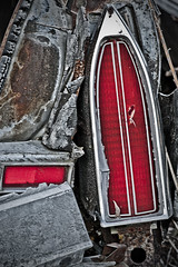 Taillight (Kim Kurtz) Tags: light red cars buses metal rust decay junkyard scrap oldcars taillight vintagecars mcleans rusteverywhere kimkurcz mcleansautowreckers inspiredbylight noideawhatkindofcarthisisfrom
