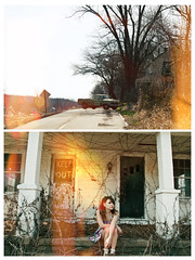 (yyellowbird) Tags: house abandoned girl truck lights diptych lolita missouri ghosttown cari moselle