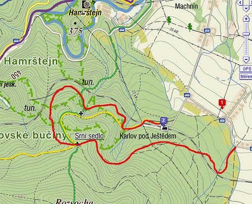 Mapa Karlovské bučiny