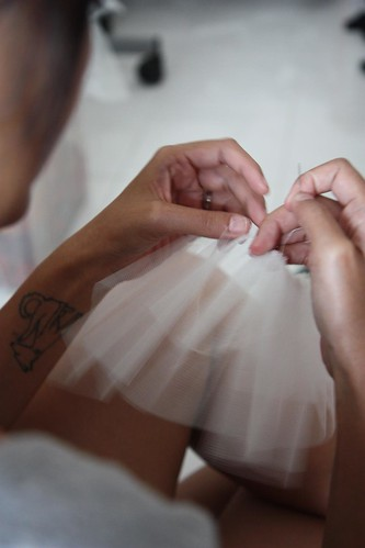 sewing the tulle