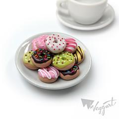With coffee (weggart) Tags: miniature strawberry handmade chocolate banana polymerclay fimo donuts donut pistachio icing sprinkle weggart