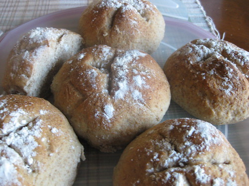Fresh rye rolls