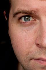 183/365: Midpoint! (CGA[AvoidingResourcefulGooglers]) Tags: blue portrait reflection eye face self nose cheek nostril eyeball eyebrow half pupil halfway stubble catchlight selfer