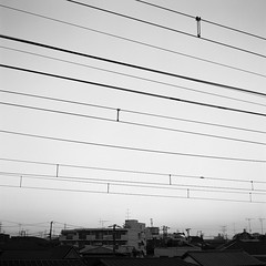 Power line (Snap Shooter jp) Tags: sky blackandwhite bw tlr film monochrome japan fuji minolta snapshot rangefinder powerline kawasaki blackdiamond autocord bwconversion pro400 sightview flickrestrellas rokkor75mmf35 mygearandme