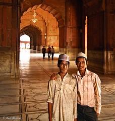 Brotherhood (Night Mode) Tags: old portrait india boys delhi muslim mosque masjid jama