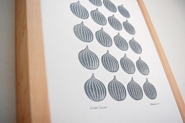 Silver Onions - block print