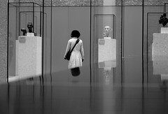 Headstrong! (Gremxul) Tags: people blackandwhite bw reflection berlin monochrome lines museum architecture composition contrast reflections geometry candid reflexions g12 blackwhitephotos unusualviewsperspectives gremxul canong12 canonpowershotg12